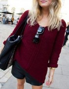 Bordowy sweter