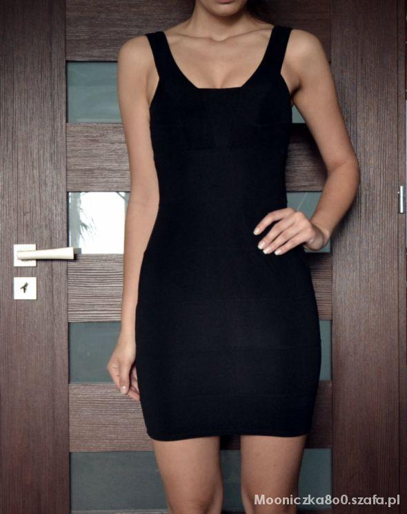 5417da7a33 Suknie i sukienki Czarna bandażowa sukienka obcisła 36 S modelująca