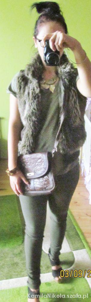 Mój styl Futrzana kamizelka Braż czerń i khaki