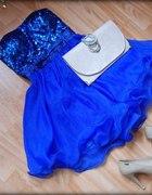 sukienka cekiny chabrowa kobalt rozkloszowana r S
