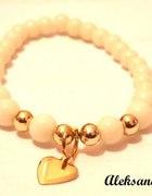 Bransoletka handamde koralik charms serce złote