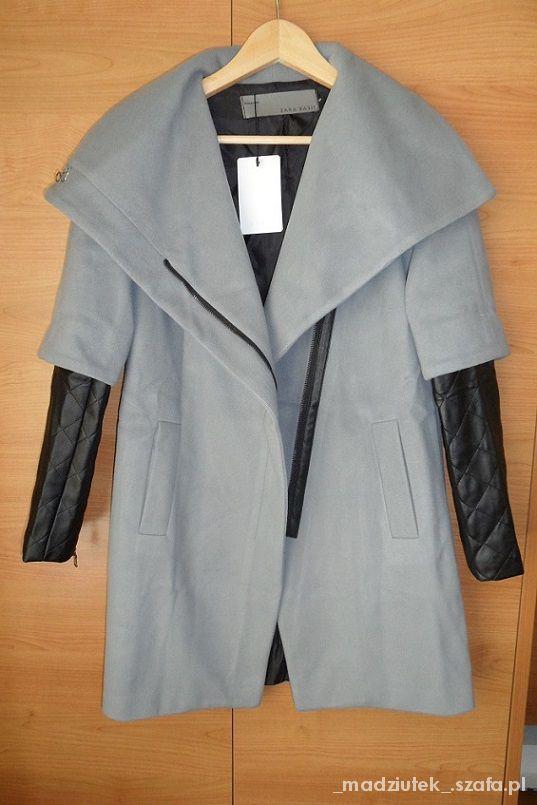 Odzież wierzchnia Szary Płaszcz skórzane pikowane rękawy jak zara