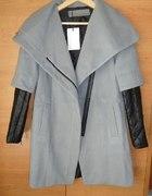 Szary Płaszcz skórzane pikowane rękawy jak zara