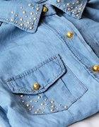 koszula jeansowa nity złote guziki dzety perełki
