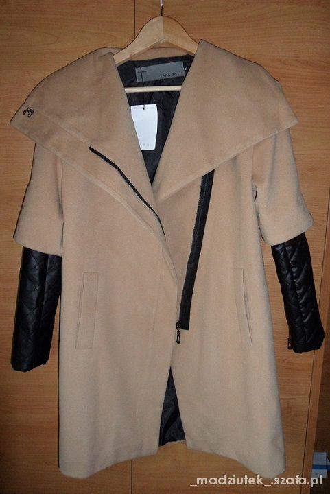 Brązowy płaszcz skórzane pikowane rękawy jak zara
