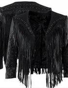 czarna kurtka z frędzlami h&m...