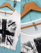 Biała bluzka z flagą Wielkiej Brytanii S