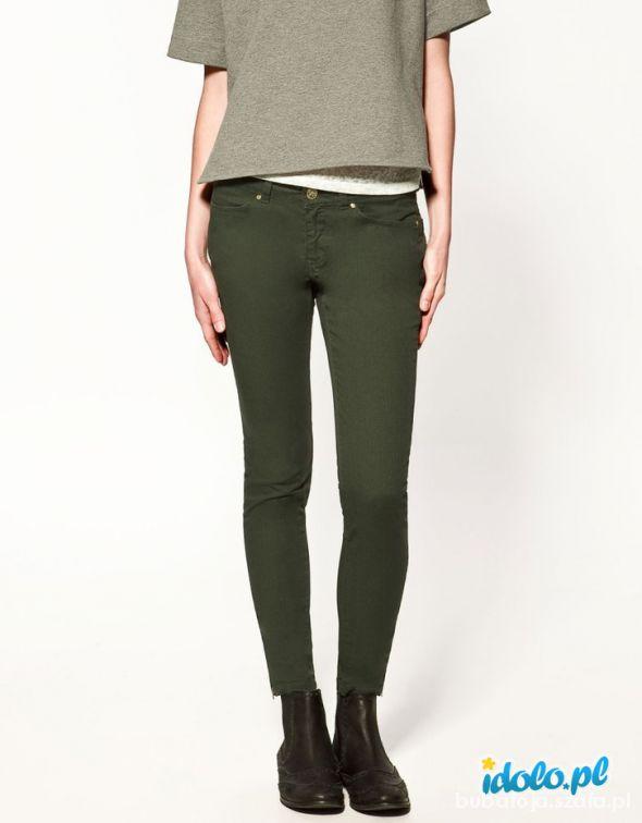 Militarne zielone khaki spodnie rurki Orsay 38 40