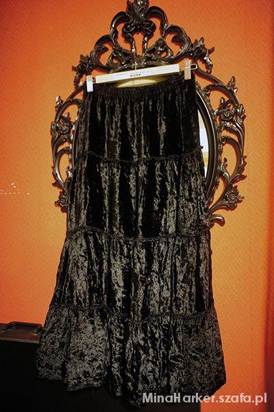 Spódnice Czarna welurowa spódnica gotycka