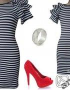 Marynarska sukienka z bufkami