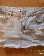 mini spódniczka jeans BERSHKA przetarcia...