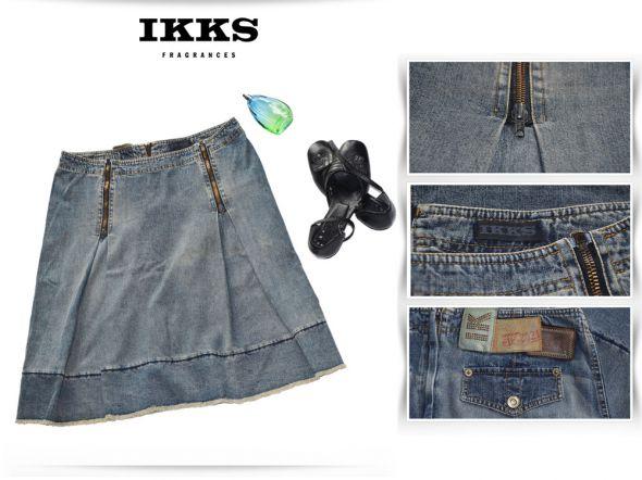Spódnice Spódnica Jeansowa Biodrówka Zipy IKKS 42