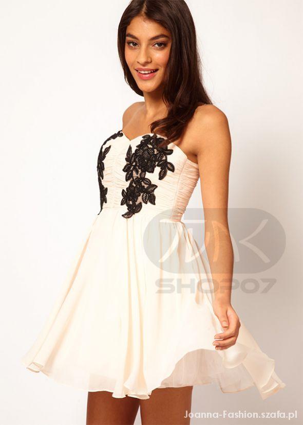 Ubrania Sukienka Japan Style tiul koronka s m beż biel