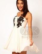 Sukienka Japan Style tiul koronka s m beż biel...