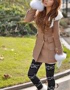 płaszczyk japan style z futerkiem XSS