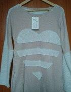 Piękny Sweterek Tunika Sukienka Serce Pudrowy