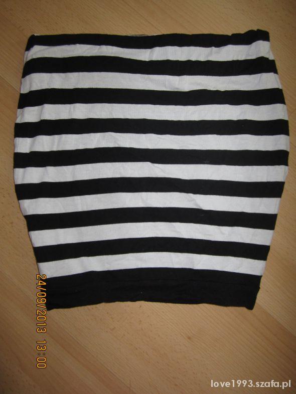 Spódnice Bandażowa Biało Czarne Paski Wysoki Stan S M L