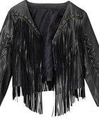 czarny żakiet kurtka H&M z frędzlami...