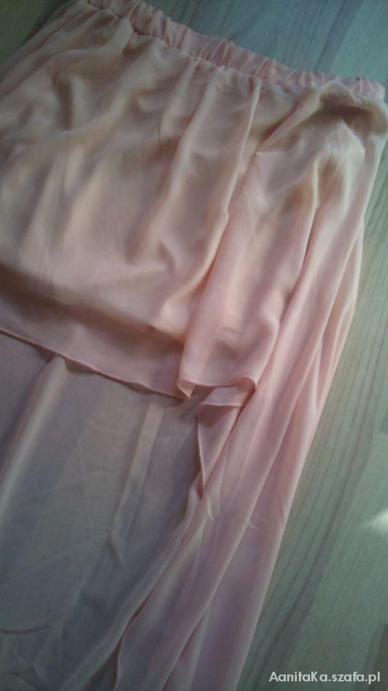 Spódnice Asymetryczna pudrowa spódnica