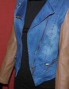 Ramoneska eko skóra karmelowa jeans S 36 ŚLICZNA