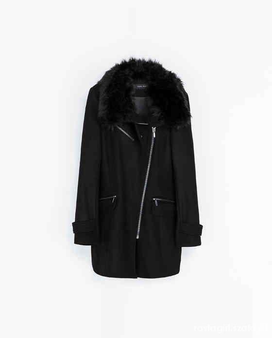 Zara płaszcz z futrzanym kołnierzem