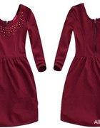 Burgundowa bordowa sukienka