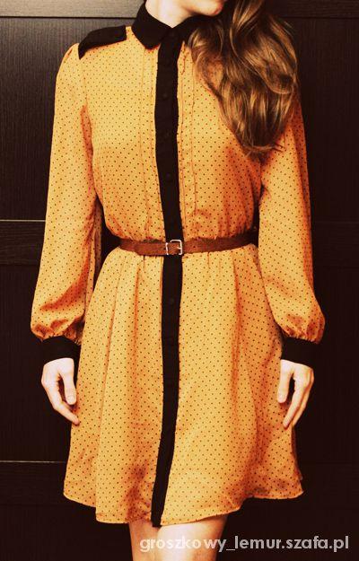 Romantyczne Karmelowa sukienka w groszki