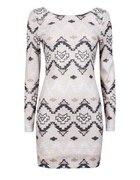 CUBUS sukienka cekiny cekinowa Aztecki wzór XS 34