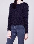 włochaty sweterek New Look fioletowy włochacz miś