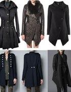 płaszcz asymetryczny militarny lub rozkloszowany...