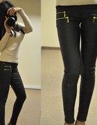 Czarne spodnie a la skóra zip zamki XS do XL