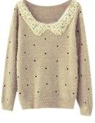 sweter kołnierzyk groszki ROMWE