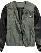 kurtka khaki skórzane rękawy reserved