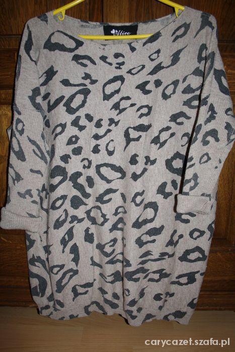 Swetry sweter oversize w panterkę