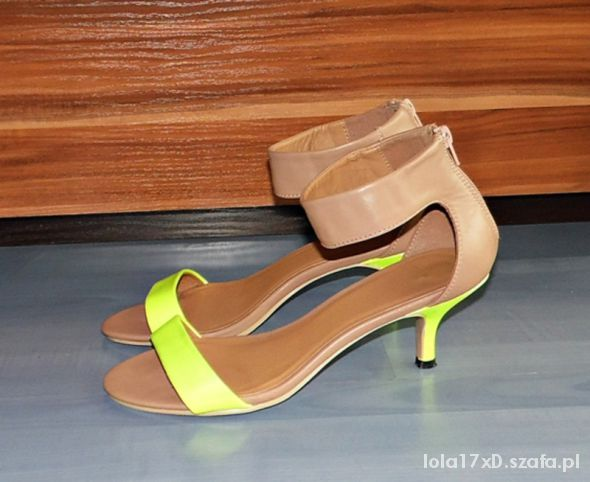 szpilki sandałki neon