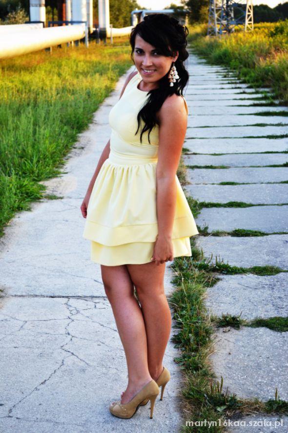 Imprezowe sukieneczka cytrynowa