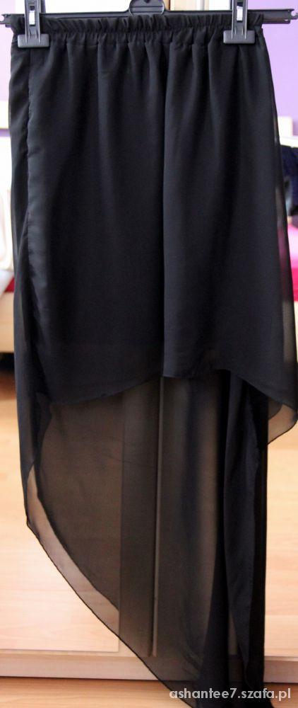 Spódnice czarna asymetryczna szyfonowa spódnica maxi mini