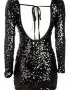 sukienka z cekinów bez pleców z długim rękawem