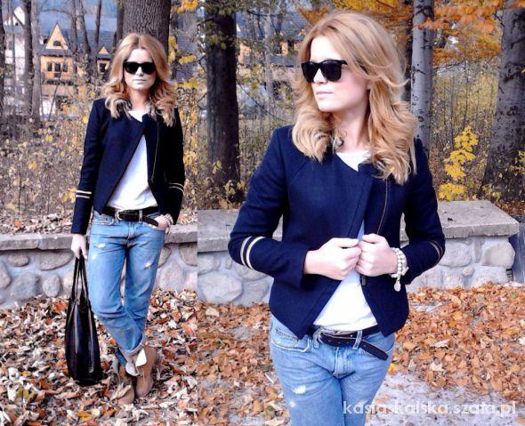 wełniany żakiet H&M i boyfriend jeans DIY