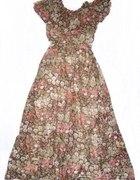 Zjawiskowa jedwabna suknia boho hippie r 36