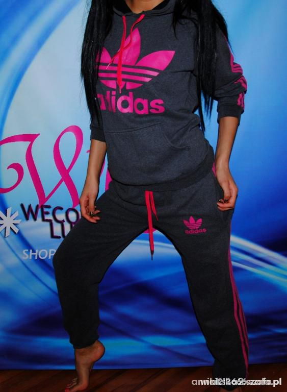 bluza adidas szaro różowa