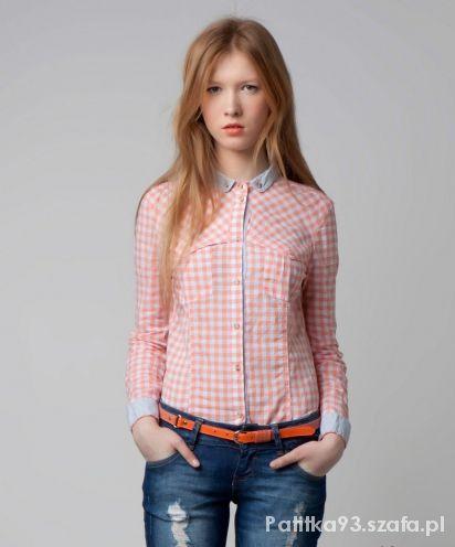 Koszule brzoskwiniowa koszula w kratkę blogerska Cropp