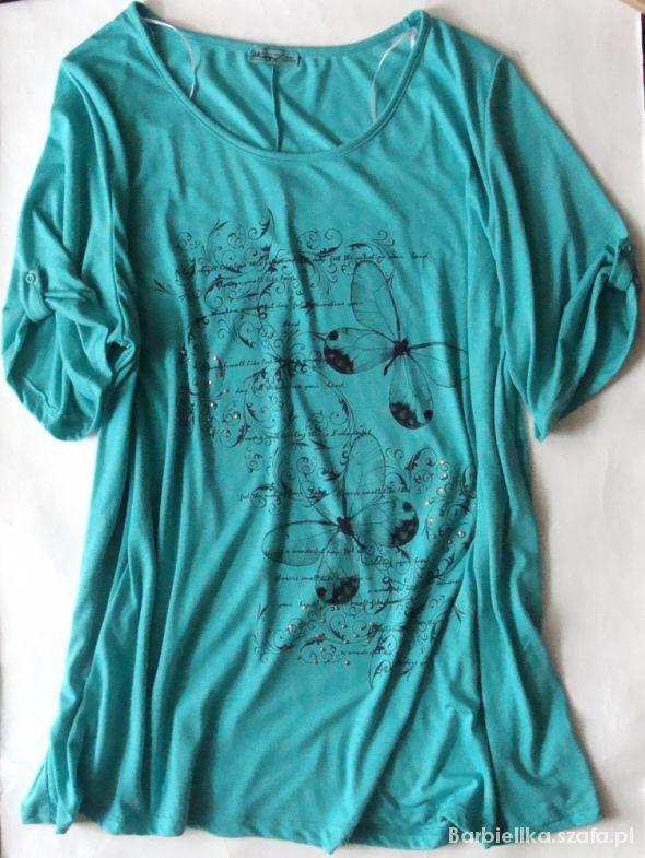 Bluzki Miętowa bluzka duży rozmiar