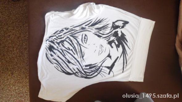 Bluzki Biała Koszulka Nietoperz