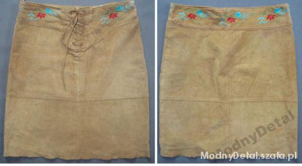 Spódnice skórzana spódnica r 42 idealna na jesień beżowa