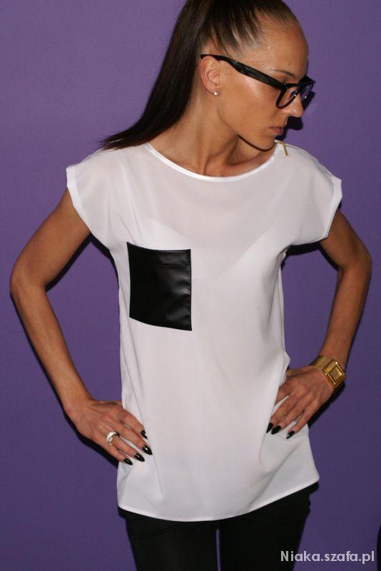 Bluzki Szyfonowa bluzeczka z kieszonką eco skóra