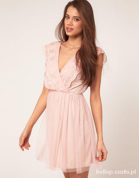 f91b20c26b sukienka asos jasny róż koronka tiul piękna w Suknie i sukienki ...