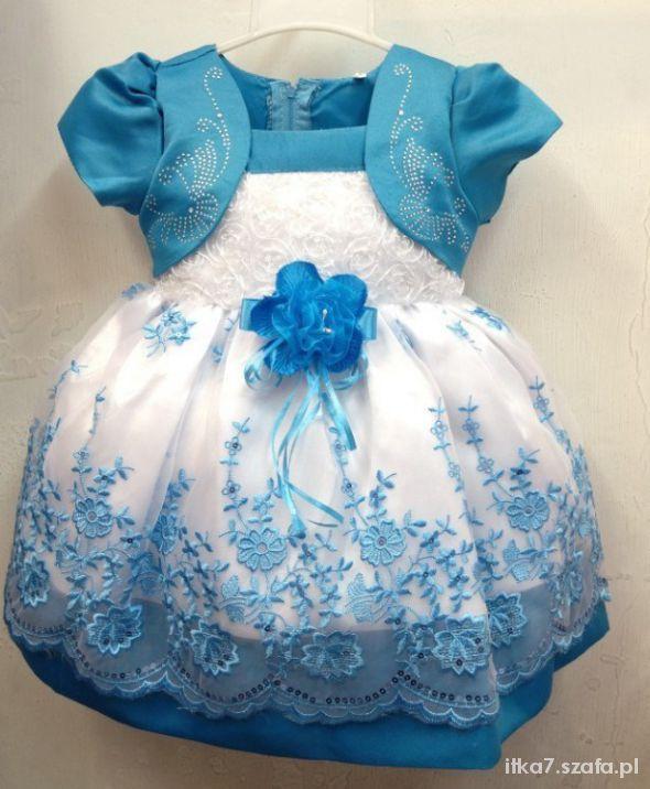 wesele chrzest roczek niebieska haft szukam 80 86 w Sukienki