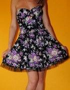 sukienka gorset floral new look rozkloszowana S M...