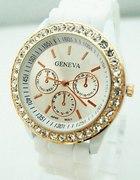 Zegarek geneva jelly watch biały z cyrkoniami